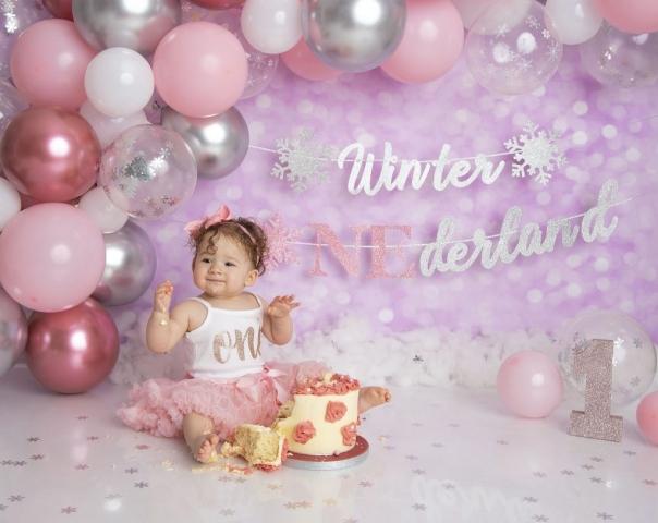 Winter Onederland cake smash pink girl