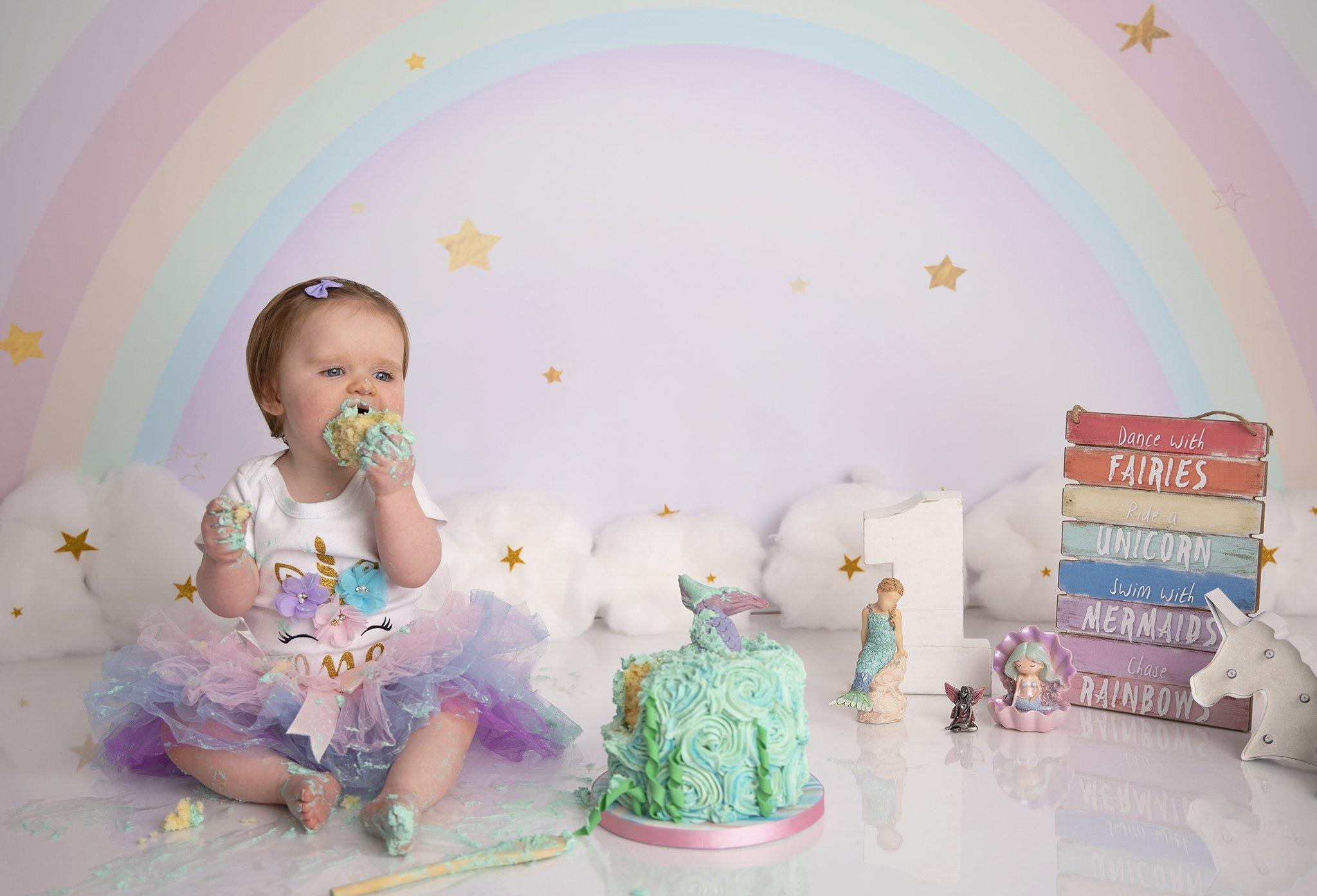 Rainbow & mermaid cake smash